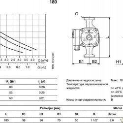 Циркуляционный насос для отопления Grundfos(EuroAqua)UPS25-40-180мм+гайки