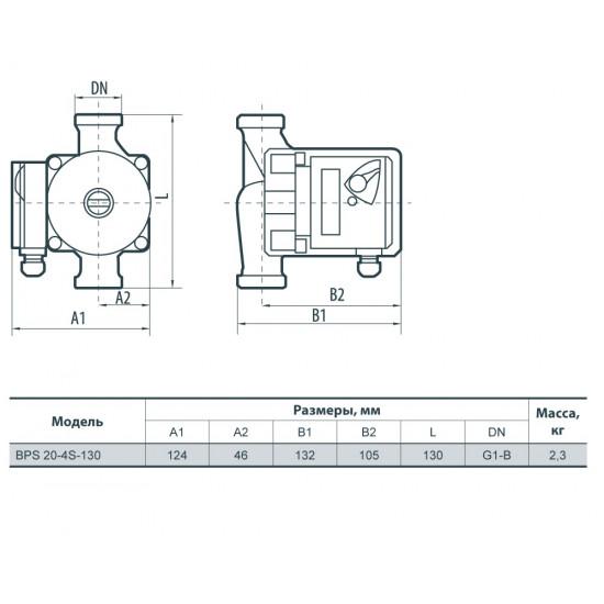 """BPS 20-4S-130 """"Насосы+Оборудование"""", присоединительный комплект"""