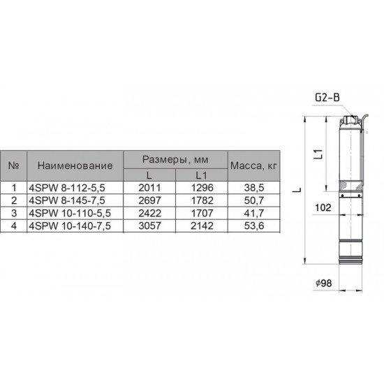 """4SPW 10-140-7,5 """"Sprut"""" глубинный насос для скважин"""