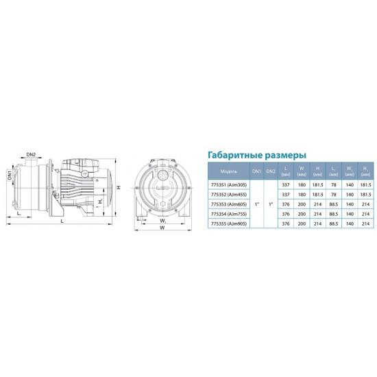 Поверхностный насос (450 Вт - 40 л/мин - напор: 35 м - медь) центробежный самовсасывающий Aquatica LEO (775352)