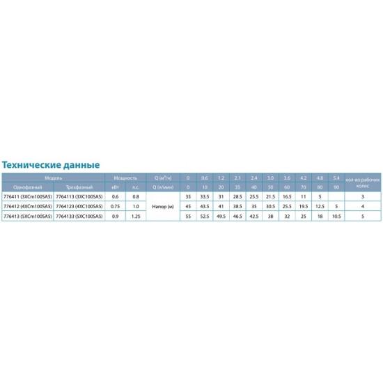 Насосная станция (0.6 кВт, напор: 35 м, 100 л/мин)  Aquatica 3XCm100SA5 LEO (776411)