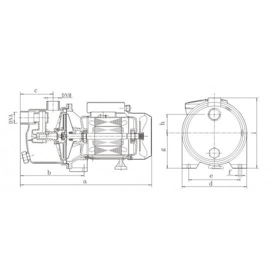JY 1000 (1100 Вт - 60 л/мин - напор: 50 м) EuroAqua центробежный поверхностный насос