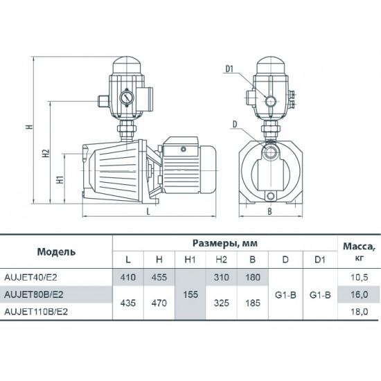 """AUJET110B/E2(UA)1100 Вт 50л/мин напор 57м""""Насосы+Оборудование"""""""