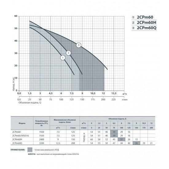 """2CPm 60 """"Насосы+ Оборудование"""" поверхностный насос центробежный"""