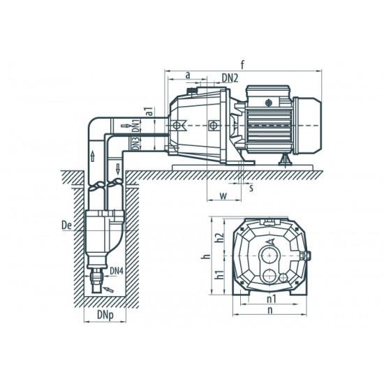 """DP 370A (620 Вт - 33 л/мин - напор: 42 м) """"Насосы+Оборудование"""" насос поверхностный центробежный с выносным эжектором"""