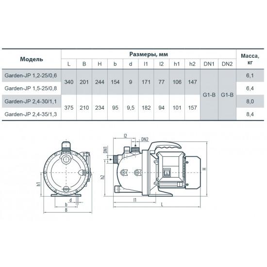 """Garden JP1,2-25/0,6(600Вт-50л/мин-напор 34 м)""""Насосы+Оборудование""""центробежный поверхностный"""