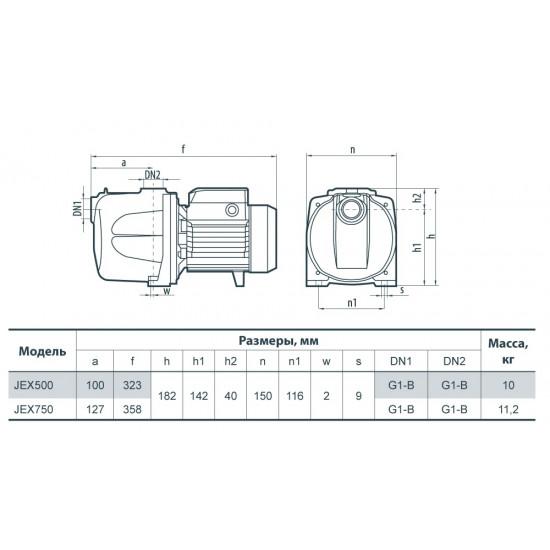"""Поверхностный насос (670 Вт, напор: 38 м, 70 л/мин) центробежный многоступенчатый JEX 500 """"Насосы+Оборудование"""""""
